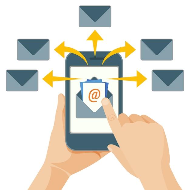 Email marketing acte d'envoi d'un message commercial Vecteur Premium