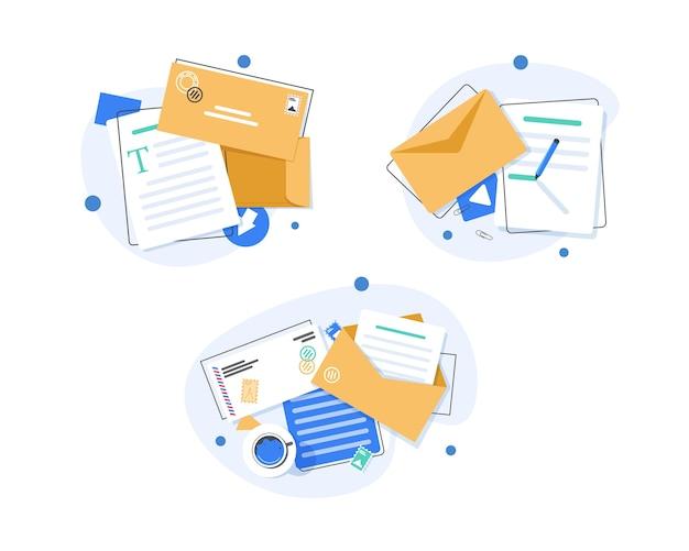 Email Et Messagerie, Campagne De Marketing Par E-mail, Illustration Design Plat Vecteur Premium