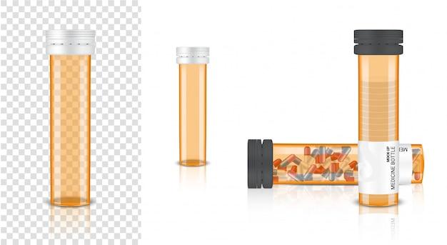 Emballage ambre transparent de médecine réaliste 3d de bouteille vide pour la pilule de capsule et de vitamine. produit sain Vecteur Premium