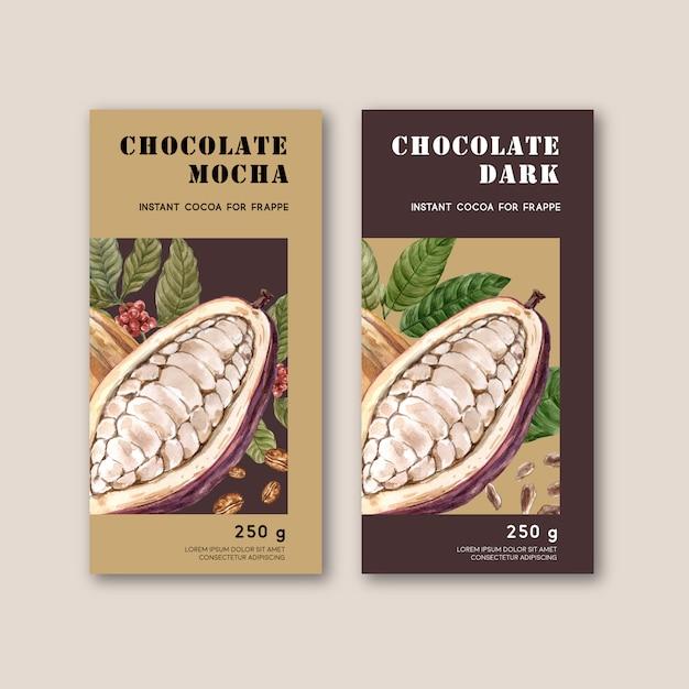Emballage Au Chocolat Avec Ingrédients Cacao Branche, Illustration Aquarelle Vecteur gratuit