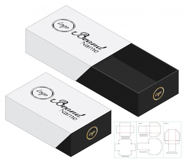 Emballage de boîte die design de modèle coupé. maquette 3d Vecteur Premium