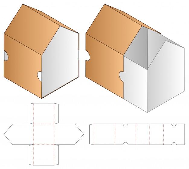 Emballage de boîte die design de modèle coupé. Vecteur Premium