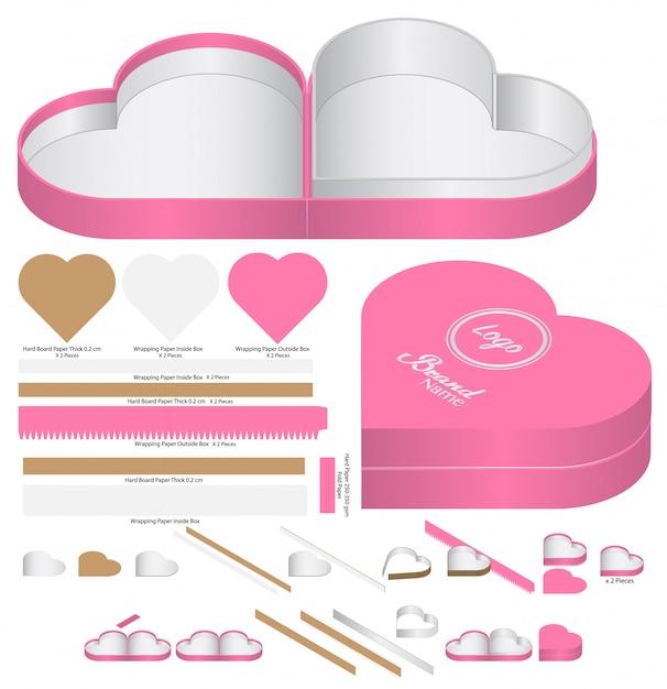 Emballage De Boîte De Forme De Coeur Découpé Conception De Modèle. Maquette 3d Vecteur Premium