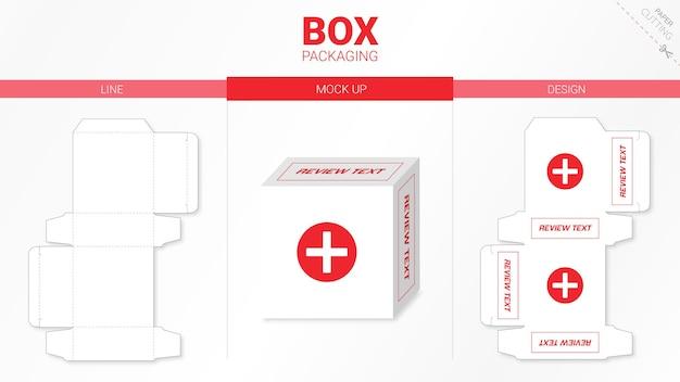 Emballage De Boîte Et Gabarit De Découpe Moackup Vecteur Premium