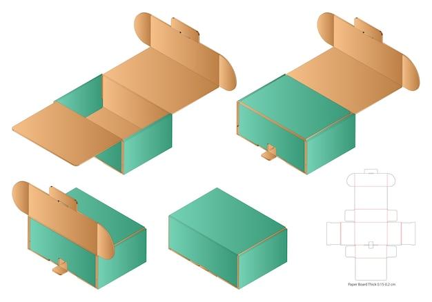 Emballage De Boîte Maquette De Conception De Modèle Découpé Vecteur Premium