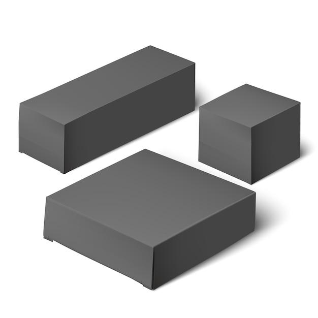 Emballage de boîte réaliste modèle vierge. Vecteur Premium