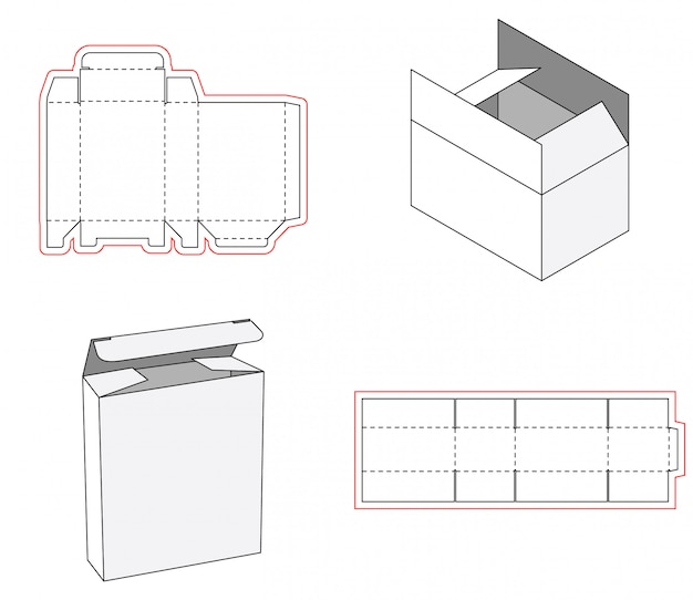 Emballage de boîte simple, découpé avec un modèle de conception Vecteur Premium