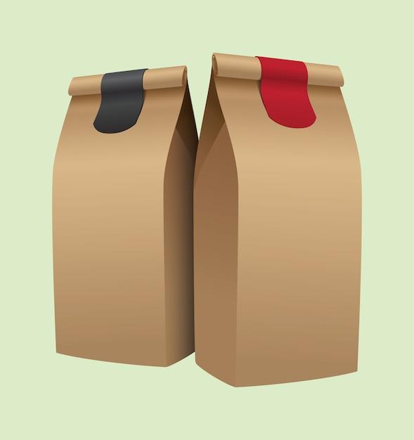 Emballage de café brun Vecteur Premium