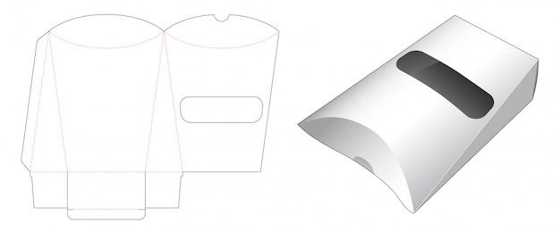 Emballage De Casse-croûte D'oreiller Avec Conception De Modèle De Fenêtre Découpée Vecteur Premium