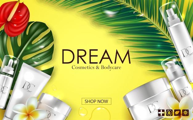 Emballage cosmétique de crème de soin de peau Vecteur Premium