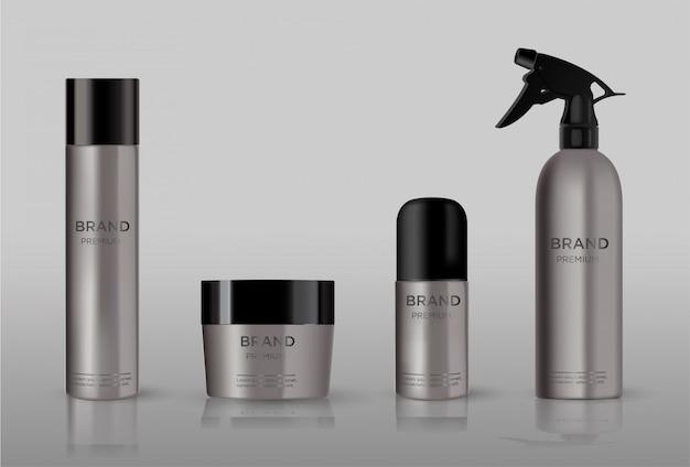 Emballage cosmétique vierge en métal Vecteur Premium