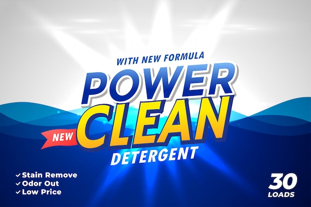 Emballage de détergent à lessive pour power clean Vecteur gratuit