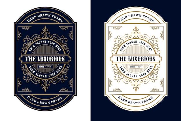 Emballage D'étiquette De Logo De Cadres De Luxe Vintage Pour étiquettes De Bouteille D'alcool Et De Boissons De Whisky De Bière Vecteur Premium