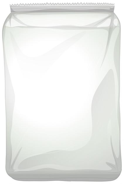 Un emballage en plastique blanc sur fond blanc Vecteur gratuit