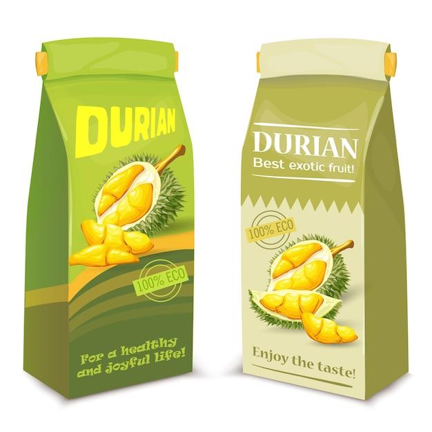 Emballage pour le jus de fruit durian exotique, Vecteur gratuit