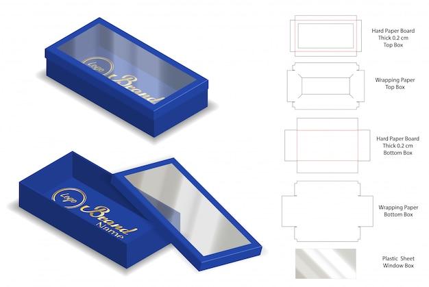Emballage Rigide Boîte Modèle Coupé 3d Maquette Vecteur Premium