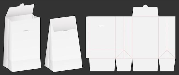 Emballage de sac en papier die-cut et 3d maquette de sac Vecteur Premium