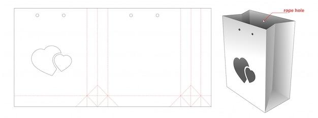 Emballage De Sac à Provisions Avec Fenêtre Coeurs Conception De Modèle Découpé Vecteur Premium