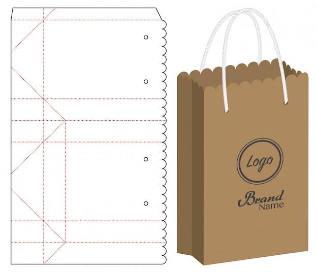 Emballage de sacs en papier découpés Vecteur Premium