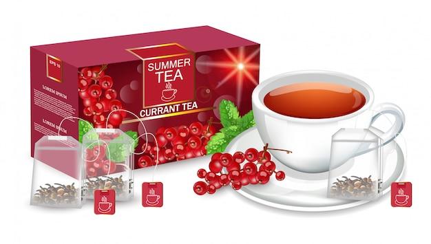 Emballage de thé simulé Vecteur Premium