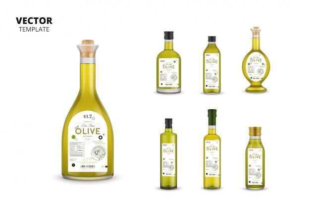 Emballages de bouteilles en verre d'huile d'olive avec étiquettes Vecteur Premium