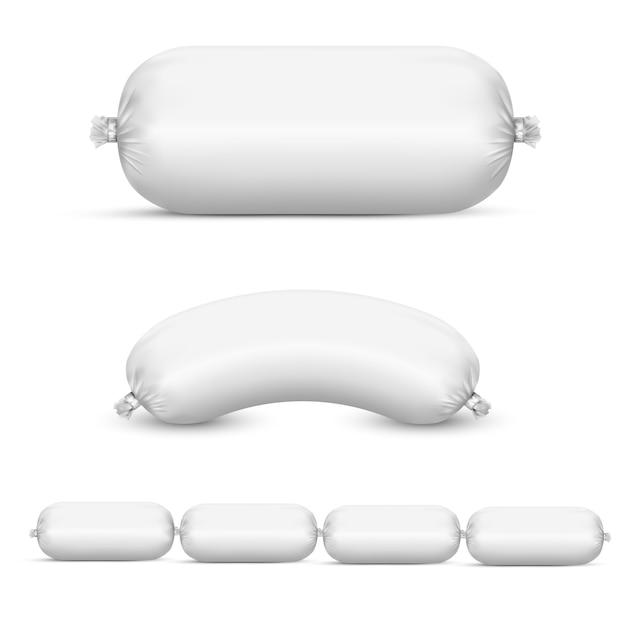 Emballages en plastique vides blancs pour saucisses et aliments Vecteur Premium