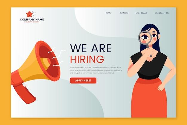 Embauche Page De Destination Avec Femme Illustrée Vecteur gratuit