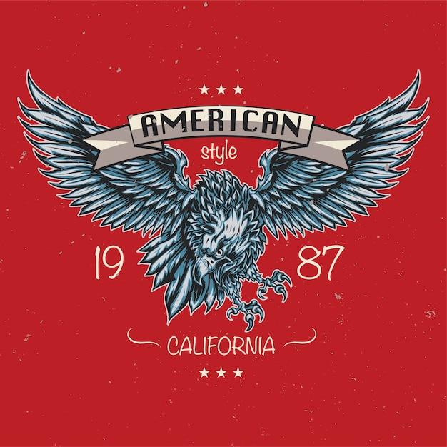 Emblème D'aigle. Style Américain. Californie 1987 Vecteur gratuit