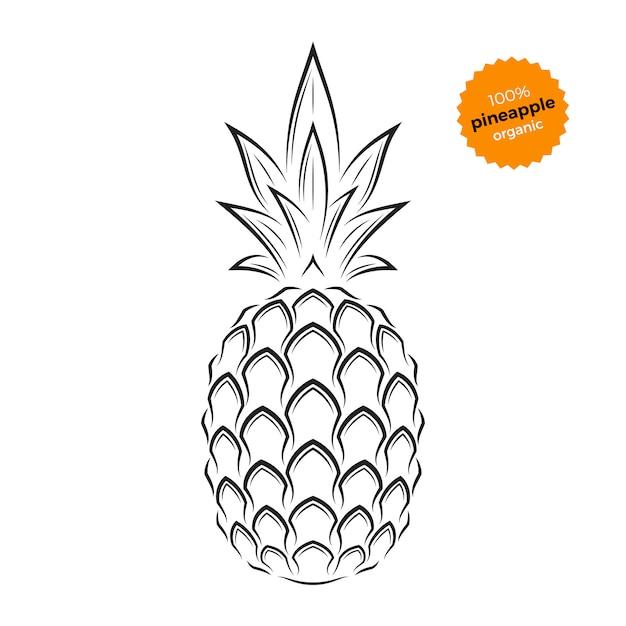 Emblème d'ananas, étiquette, symbole Vecteur Premium