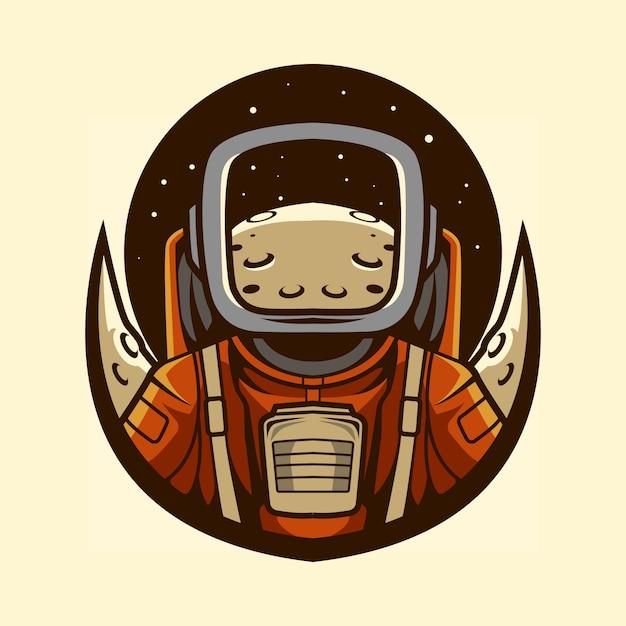 Emblème D'astronaute Avec Planète En Illustration De Casque Vecteur Premium