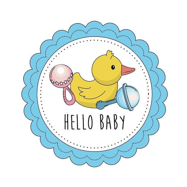 Emblème de baby shower pour accueillir un enfant Vecteur Premium