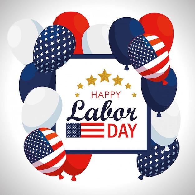 Emblème avec ballons de drapeau américain à la fête du travail Vecteur gratuit