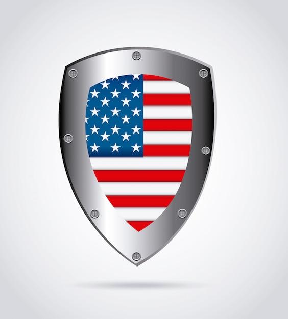 Emblème de bouclier américain Vecteur gratuit