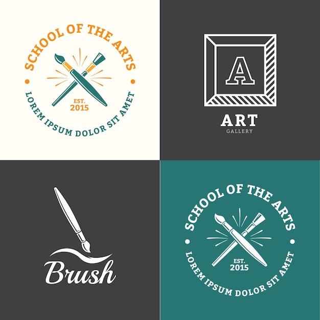 Emblème de brosse de vecteur pour studio de dessin ou d'art scolaire Vecteur Premium