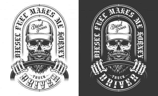 Emblème De Camionneur Avec Crâne Vecteur gratuit