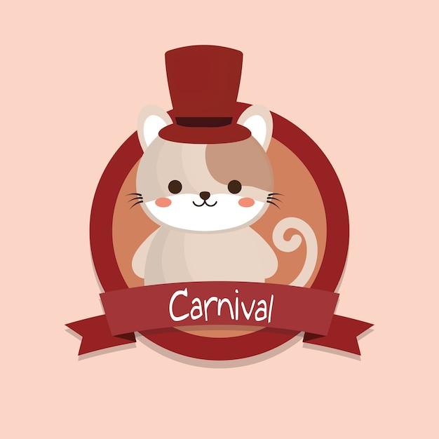 Emblème de carnaval avec chat mignon Vecteur Premium