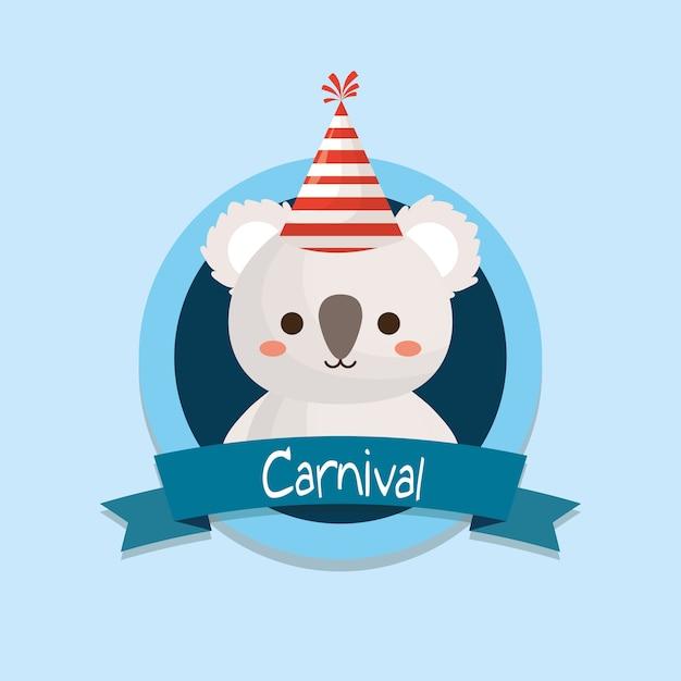 Emblème de carnaval avec koala mignon Vecteur Premium
