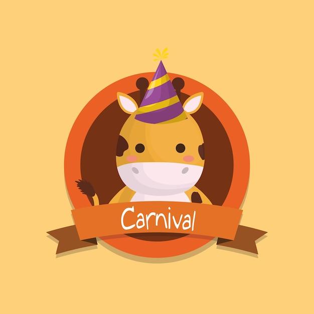 Emblème de carnaval avec mignon girafe Vecteur Premium