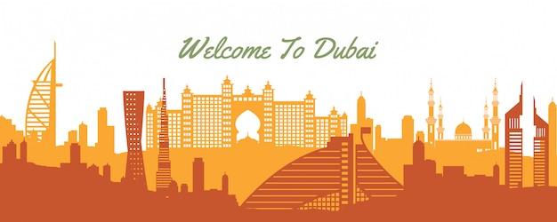 Emblème Célèbre De La Bannière De Dubaï Vecteur Premium