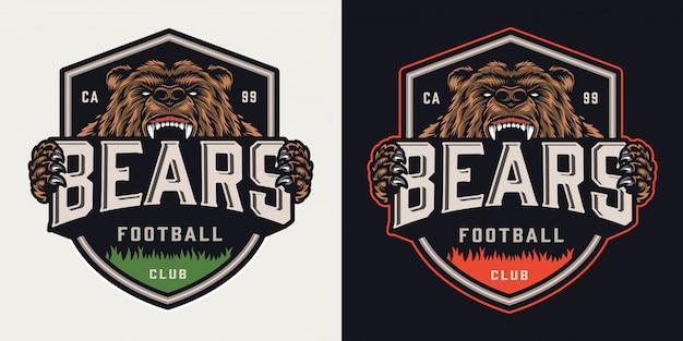 Emblème Coloré Du Club De Football Vintage Vecteur Premium