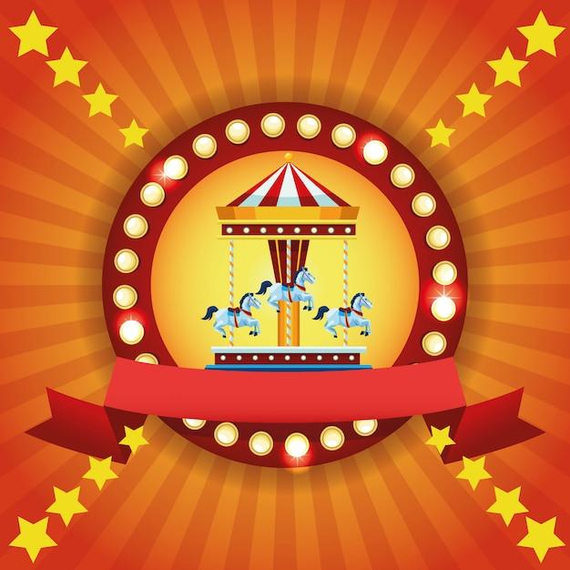 Emblème coloré du festival du cirque Vecteur gratuit