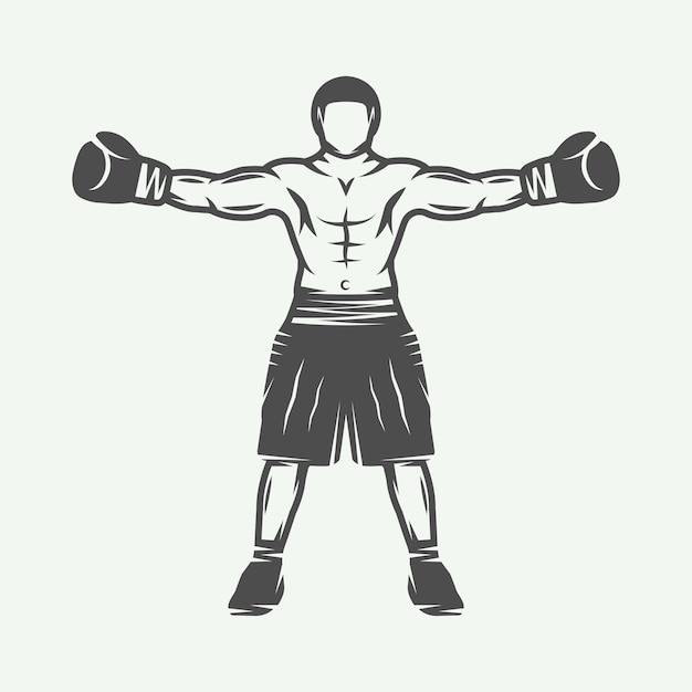 Emblème Du Logo Boxeur Vecteur Premium