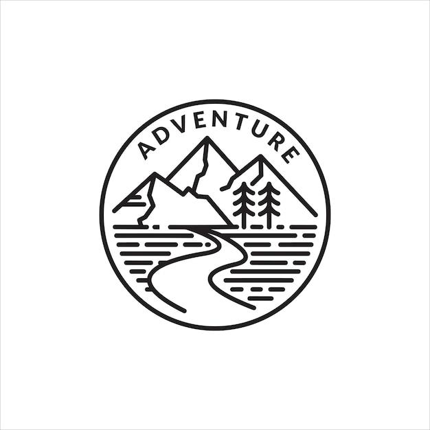 Emblème Du Logo Monoline De L'aventure En Montagne Vecteur Premium