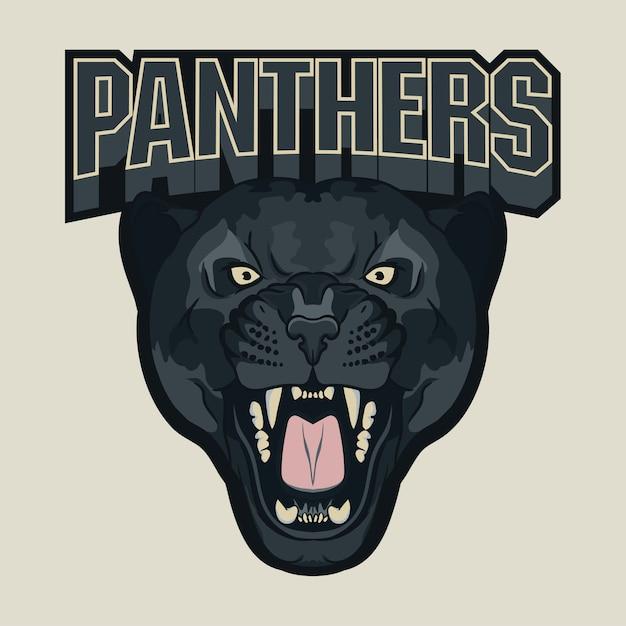 Emblème De L'équipe Angry Panther Sport, Tête De Gros Chat Sauvage. Vecteur Premium