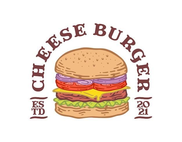 Emblème De L'étiquette De Hamburger Au Fromage Au Design Vintage Doodle. Vecteur Premium