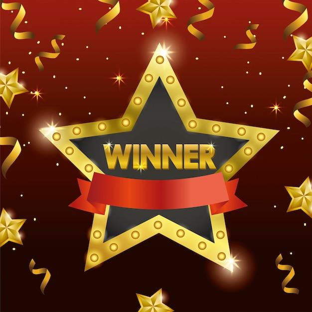 Emblème d'étoile gagnante avec ruban et confettis Vecteur Premium