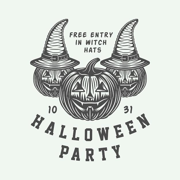 Emblème de la fête d'halloween Vecteur Premium