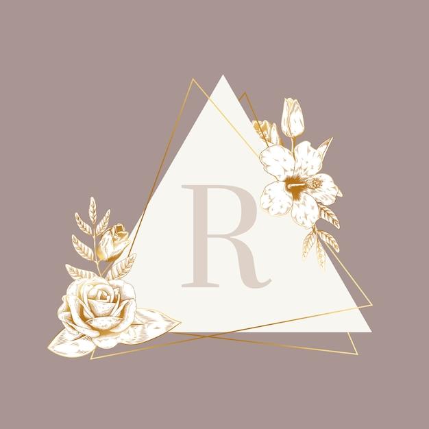 Emblème floral vintage Vecteur gratuit