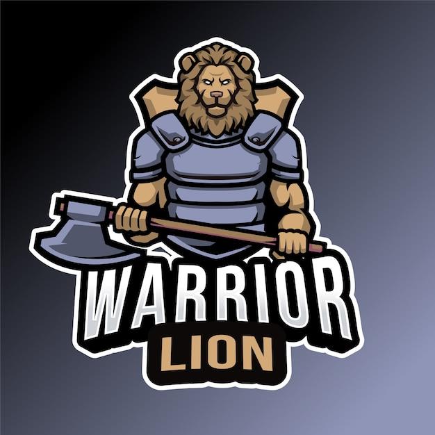 Emblème De Lion Guerrier Vecteur Premium