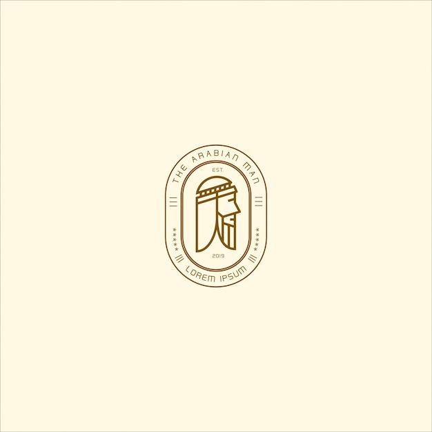 Emblème logo homme arabe Vecteur Premium
